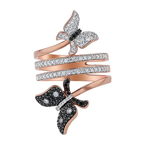 White Gold Diamond Bypass Ring - Olivia Paris 14k Rose Gold Black and White Diamond Butterfly Bypass Ring for Women (3/4 cttw) Size 7