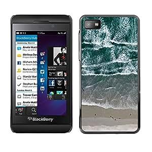 Caucho caso de Shell duro de la cubierta de accesorios de protección BY RAYDREAMMM - Blackberry Z10 - View Beach Waves Sand Sea