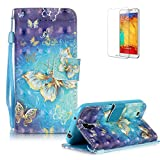 Samsung Galaxy S4 i9500 Case Cover [with Free Screen Protector], Funyye Elegant Premium Folio 3D Patterns PU Leather Wallet Magnetic Flip Cover with [Wrist Strap] and [Credit Card Holder Slots] Color Painted Pattern Design Stand Case Cover for Apple Samsung Galaxy S4 i9500 - Blue Gold Butterflies