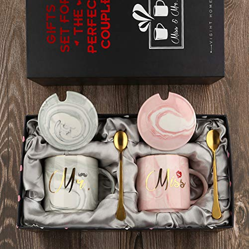 Mr and Miss Couples Coffee Mugs Cups Gifts-Set for Engagement Wedding Bridal Shower Bride and Groom To Be Newlyweds Anniversary - Ceramic Marble 15 Ounce