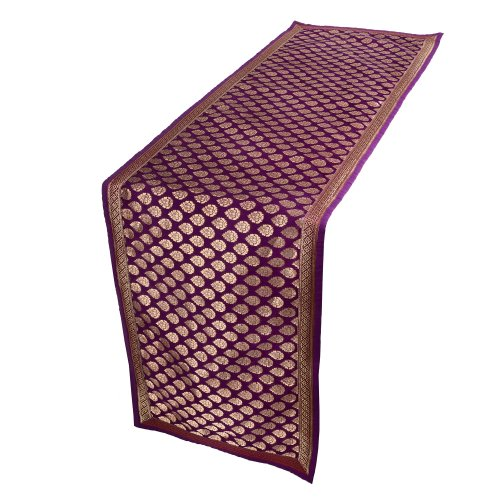 Home Decor Indian Table Runner 54 Inch Purple and Gold Silk Brocade by ShalinIndia