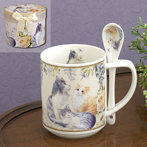 Bits and Pieces - 10 OZ Cat Mug with Teaspoon