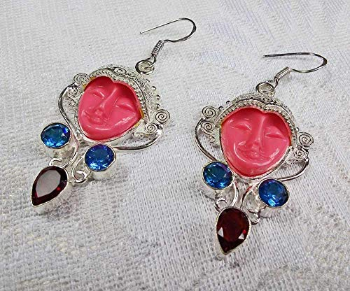 Goddess Garnet Ring - Goddess Jewelry 925 Silver Dangle Large Earrings Hand Carved Pink Jasper Iolite Garnet Gem Goddess Earrings Silver Earrings Jewelry