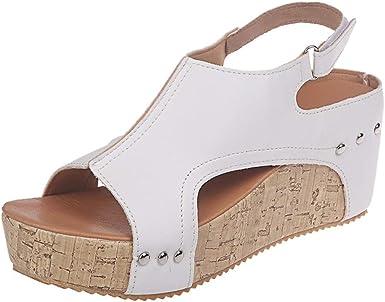 Amazon Com Women Platform Wedges Sandals Summer Cutout Open Toe