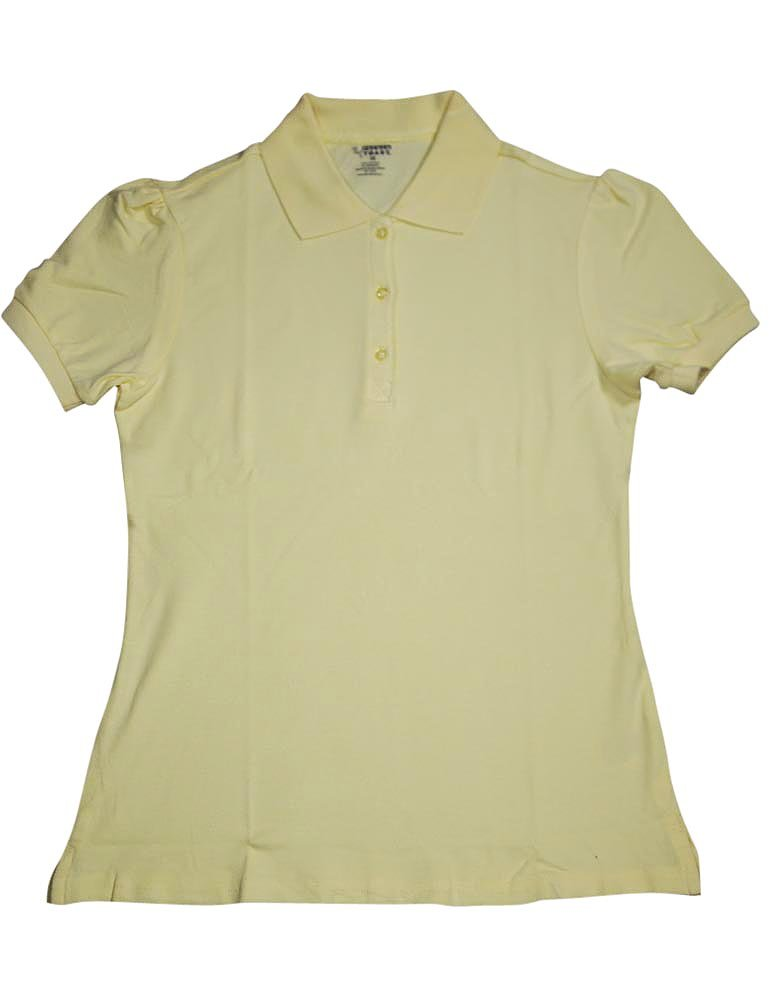 French Toast Little Girls' Short Sleeve Stretch Pique Polo, Yellow, 6X