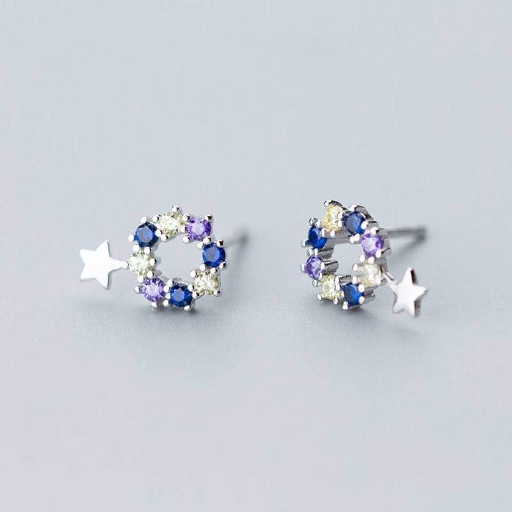 S&RL S925 Pendientes de Plata Estilo Japonés Y Coreano de la Personalidad de Las Mujeres Pendientes de Pentagrama con Incrustaciones de Diamantes Huecos Circulares Joyas de OrejaColor Diamante Est