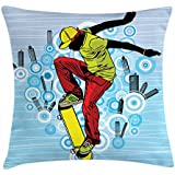 Ambesonne Youth Throw Pillow Cushion Cover, Teenager Playing Skateboard on Street with Abstract City Background Circles Buildings, Decorative Square Accent Pillow Case, 16 X 16 Inches, Multicolor