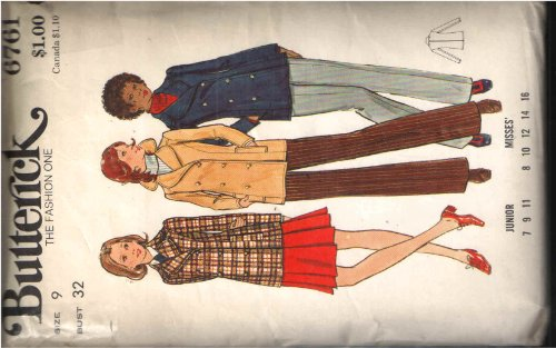 (Vintage Butterick 6761 Sewing Pattern for Double Breasted Pea-coat Style Jacket with Rounded Notched Collar, Welt Pockets Top-stitching and Princess)