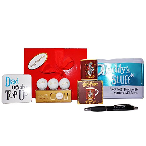 Father's Day Gift Box with Harry Potter Gryffindor Mini Mug, Coaster, Stuff Tin with Lindt Gold Balls