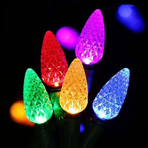 - HAYATA C6 Bulbs Christmas Lights 50 LED 16ft Strawberry String Light - Fairy Lighting for Outdoor, Indoor, Garden, Patio, Party, Home, Holiday, Garland, Christmas Tree Decorations (Multi Color)