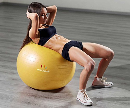 Wacces Professional Exercise, Stability and Yoga Ball for Fitness, Balance & Gym Workouts- Anti Burst - Quick Pump Included (Yellow, 75 cm) by Wacces (Image #2)
