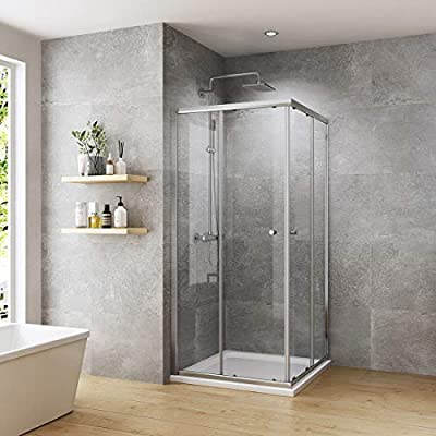 WELMAX cabina de ducha esquinera doble puerta corredera mampara de ducha 6 mm ESG cristal de seguridad chorro ducha esquina: Amazon.es: Bricolaje y herramientas