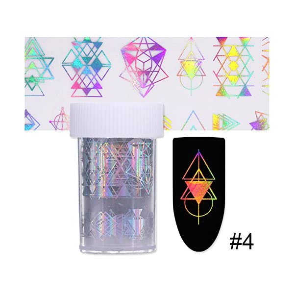 Born Pretty 10Rolls Nail Art Foil Sticker holographic Laser Gradient Starry Sky Geometry Flower manicuring Transfer Decals 7