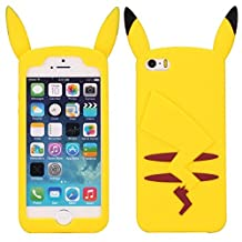 Cute 3D Style Pikachu Pattern Soft Silicone Case for iPhone 5 / 5S (Yellow)