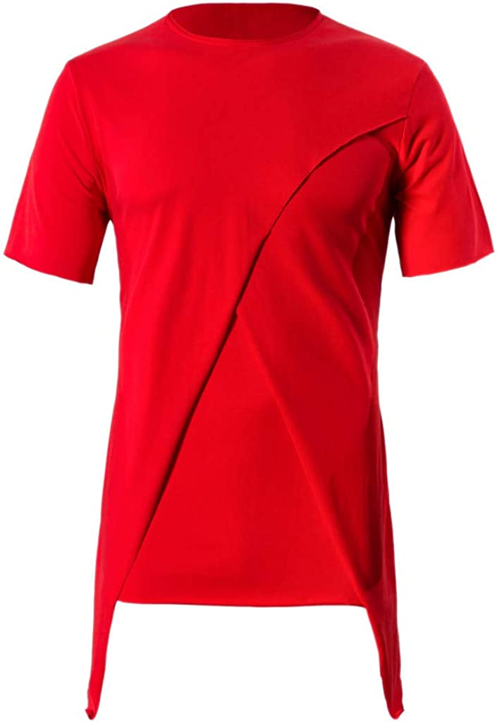 Mens T-Shirt Short Sleeve Stripe Irregular Tops Pullover Fitness Athletic Baggy Shirts Summer Tee