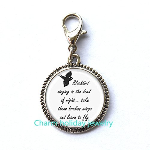 Blackbird Singing In The Dead Of Night Fashion Zipper Pull - Song Lyrics Art Jewelry.D0034 ()