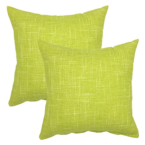 YOUR SMILE Solid Color Decorative Cotton Linen Throw Pillow Case Cushion Cover Pillowcase for Couch Sofa Bed,18 x 18 Inches (Green,Set of 2)