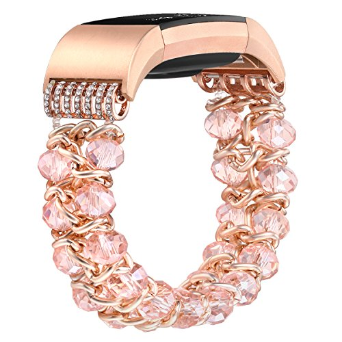 fastgo Compatible for Fitbit Charge 2 Bands, Elastic Crystal Beads Classy Dressy Bracelet Band Sport Compatible for Charge 2 Wrist Band for Women and Girls(Crystal Pink)