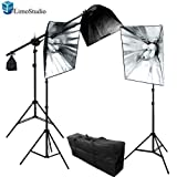 LimoStudio 2400 Watt Photo Studio Photography and Digital Video Continuous Lighting Kit with Carrying Case - 3 Light Stands, 3 Softboxes, 3 Light Heads, 9 Photo Bulbs, AGG1176