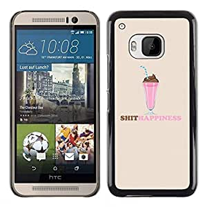 Design for Girls Plastic Cover Case FOR HTC One M9 Shit Happiness Slogan Quote Funny Ice Cream OBBA
