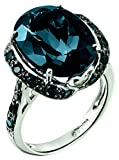 RB Gems Sterling Silver 925 STATEMENT Ring GENUINE GEMSTONE Oval 16x12 mm with Rhodium-Plated Finish (7, london-blue-topaz)