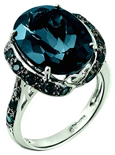 RB Gems Sterling Silver 925 STATEMENT Ring GENUINE GEMSTONE Oval 16x12 mm with Rhodium-Plated Finish (7, london-blue-topaz) by RB Gems
