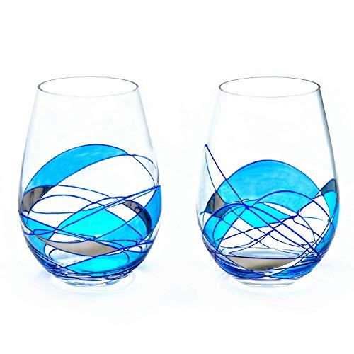 (Stemless Wine Glasses 21Oz BLUE & SILVER set 2 ANTONI BARCELONA)