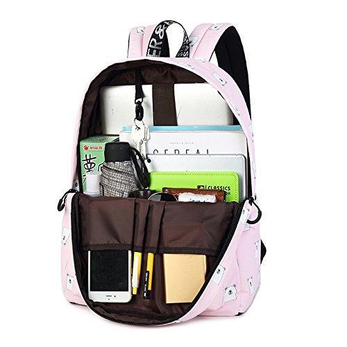 15 Backpack Inches Capacity Daily Black Winnerbag Bear Rucksack Waterproof Fabric Women Printing Laptop Girls Cute Pattern Large Black vPPaqIpZn