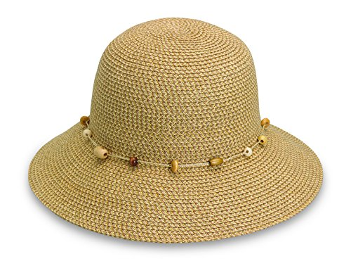 Wallaroo Women's Naomi Sun Hat - Natural Woven Fibers - UPF50+, Natural