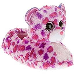 Beanie Boo Girls Slippers Loafer Faux Fur Warm Cozy Pink Bear (Large / 1-2 M US Little Kid)