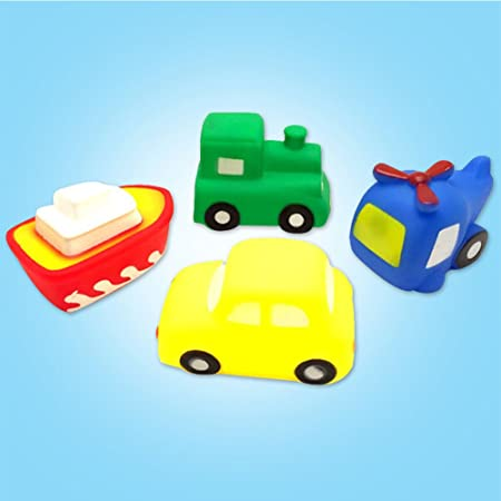 405bd8729d5a6d 4 stücke Kinder Schwimmen Spielzeug Set PVC Fahrzeug Boot Flugzeug Auto Zug  Bad Sounding Spielzeug für 0-6 Jahre  Amazon.de  Spielzeug