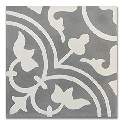Moroccan Mosaic & Tile House CTP33-01 Casa 8''x8'' Handmade Cement Tile (Pack of 12), GrayWhite