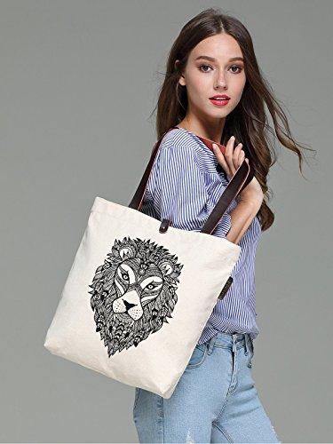 So'each Women's Lion Head Portrait Canvas Handbag Tote Shoulder Bag
