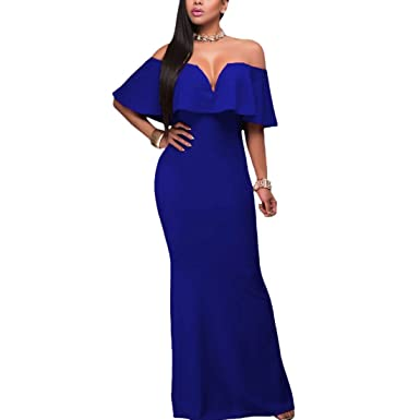 QIYUN.Z Frauen Slash Hals Rüschen Lange Maxi Kleid Cocktailparty  Trägerlosen Kleid  Amazon.de  Bekleidung c49f025c9b
