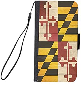 Rikki KnightTM Maryland Flag on Distressed Wood Design iPhone 6 Plus Premium PU Leather Wallet Flip Case with Magnetic Flap