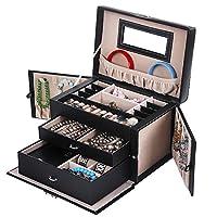 SONGMICS Jewelry Box Girls Jewelry Organizer Mirrored Mini Travel Case Lockable