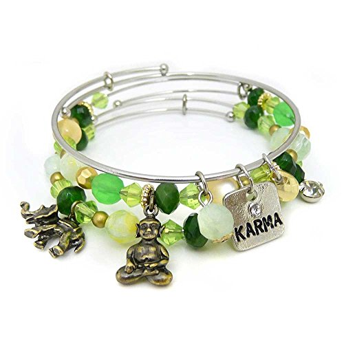 KIS-Jewelry Symbology 'Karma' Bangle Bracelet Set - Three Piece Expandable Wire Charm Bracelet with Multiple Colors That Pop - Perfect Jewelry for Fashion