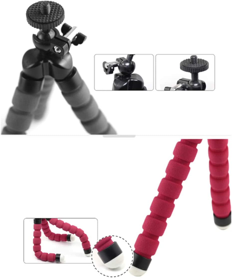 Compact Lightweight Desktop Lazy Tripod Multifunctional Outdoor Shooting Stand Phone Clip Red