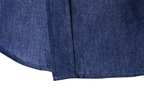 Culater Camisas Manga Larga Hombre Formales Moda Fashion Slim Fit Shirts Azul Oscuro
