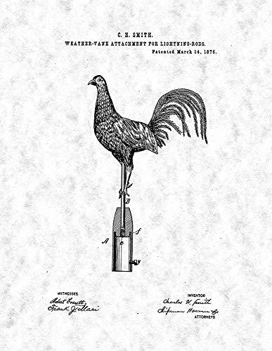 "Weather-Vane Attachment Lightning-Rods Patent Print Gunmetal (8"" x 10"") M14045"