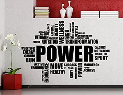 Higoss Power Fitness Word Cloud Wall Sticker Gym Sports Training Place Vinyl Wall Decal