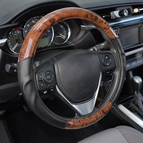 BDK ACDelco Compatible Car Steering Wheel Cover Replacement Cover for 14.5 to 15.5 Wheel, Synth Leather Dark Wood Burlwood (Nissan Altima 2005 Accessories)