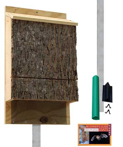 Triple Chamber Bark Clad Fledermaus House für Outdoors mit Pole Kit, 300 Bats