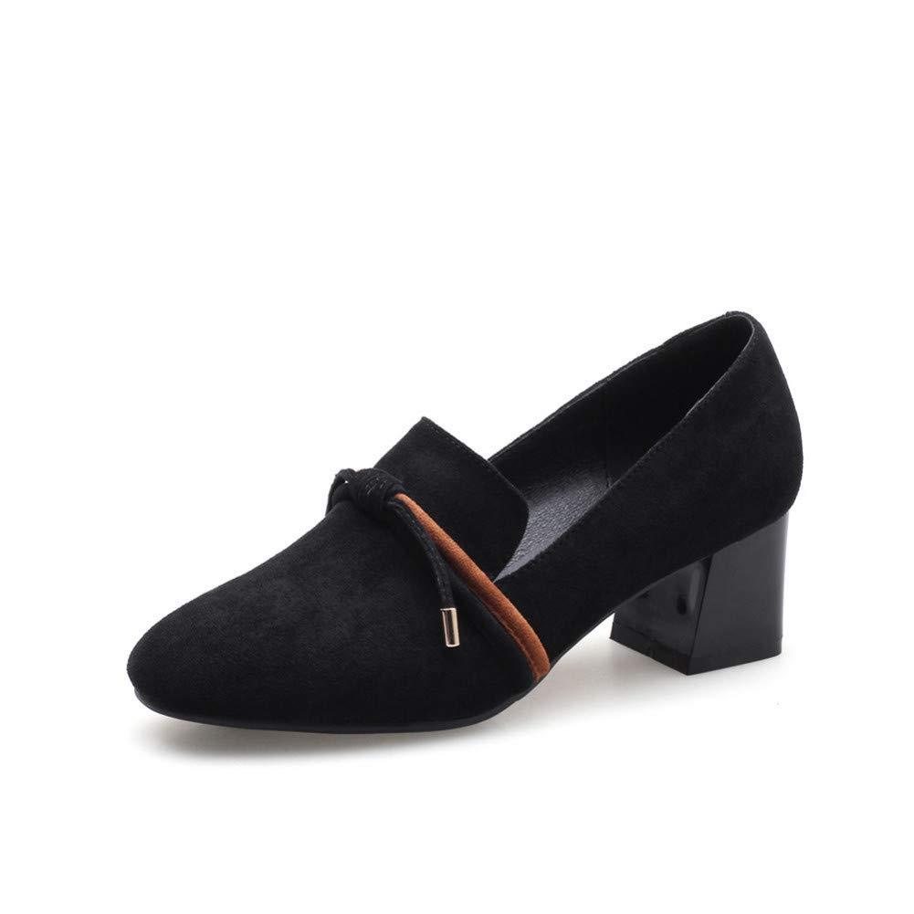noir  VIVIOO Flock Chaussures Femme Printemps été Chaussures à Bout Rond Chaussures à Talons Hauts 5cm Chaussures Femme