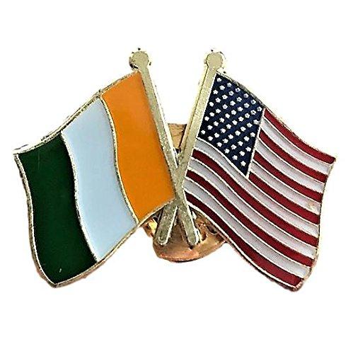 (Backwoods Barnaby USA-Ireland Friendship Pin/American Irish Crossed Flags Broach )