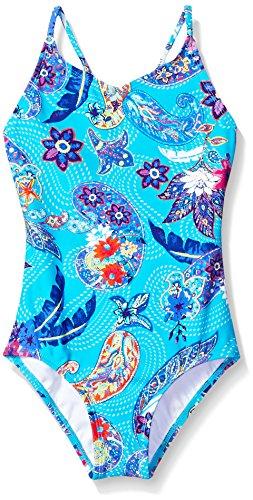 Kanu Surf Big Girls' Daisy Beach Sport 1-Piece Swimsuit, Melody Aqua Paisley, 12