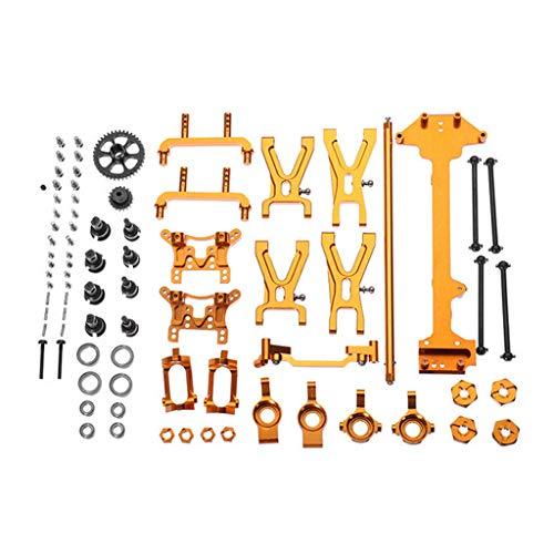 (HHoo Upgraded Metal Parts Kit for WLtoys 1/18 A949 A959 A969 A979 K929 RC Car, Part Aluminum Electric RC Vehicle & Truck Parts Scale Accessories Set for Kids and Adults (Gold))