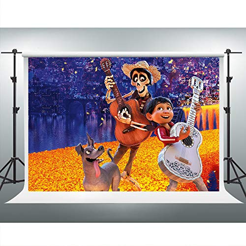 Coco Themed Kid's Birthday Party Photography Backdrop 7x5ft Cartoon Photo Booth Background ZYVV0471 ()