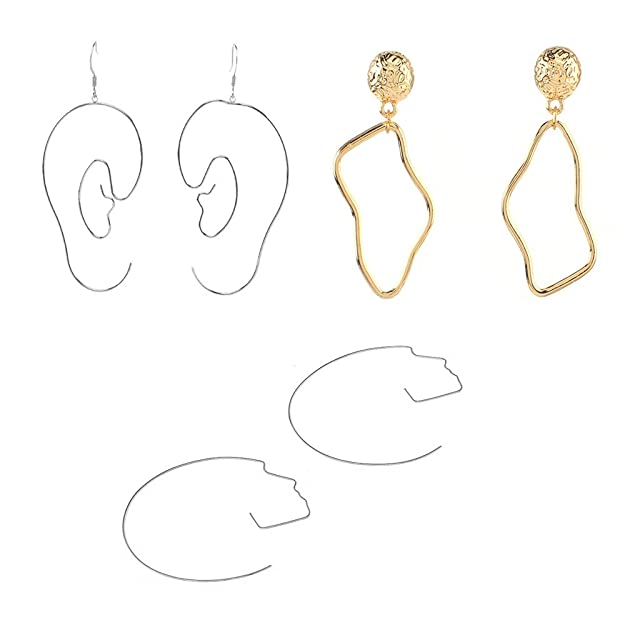 Mrotrida Face Earrings Set Abstract Art Human Face Hand Dangle Earring & Face Rings For Women Teen Girls Fashion Geometric Statement Earrings For Party Birthday Valentine's Day Christmas by Mrotrida