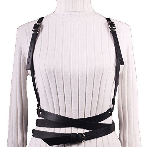 t Belts Punk Harajuku Faux Leather Harness Straps Adjustable (Black Harness)